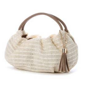 クーコ COOCO タッセル付き雑材風バッグ (オフホワイト)