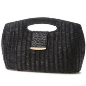クーコ COOCO ラタンクラッチハンドバッグ (ブラック)