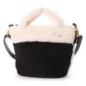 クーコ COOCO モコモコ2wayファートートバッグ (ブラック)