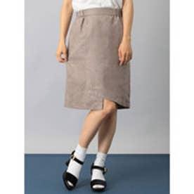 イーハイフンワールドギャラリー E hyphen world gallery フェイクスエードアシメタイトスカート (Charcoal Gray)