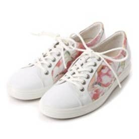 エコー ECCO ECCO SOFT 7 LADIES (WHITE FLORAL PRINT/WHITE/POWDER)