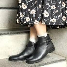 フィン Fin 【低反発スポンジ入り】ベルトショートブーツ (ブラック)