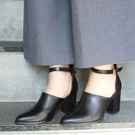 フィン Fin 【低反発スポンジ入り】アンクルストラップセパレートパンプス (ブラック)