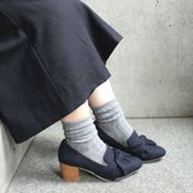 フィン Fin 【低反発スポンジ入り】太ヒールリボンパンプス (ネイビー)