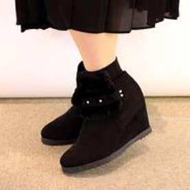 フィン Fin 【低反発スポンジ入り】ファーウェッジショートブーツ (ブラック)