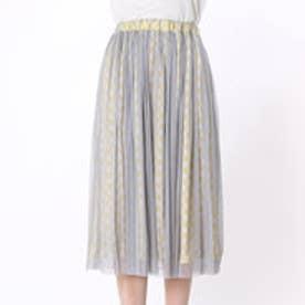 フェリシモサーカス FelissimoCircus カラーとチュールを合わせたロングスカート (グレーメッシュXホワイト・イエロー)
