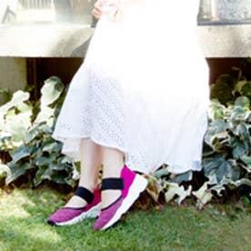 スニークバイエンチャンテッド SNEEKE by.enchanted ホワイトソールニットスニーカー (ピンク)