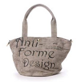 アンチフォルムデザイン Anti-Forme Design LOGO BAG バケツ型トート(リネン) (グレー)