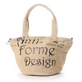 アンチフォルムデザイン Anti-Forme Design LOGO BAG バケツ型トート(リネン) (ベージュ)