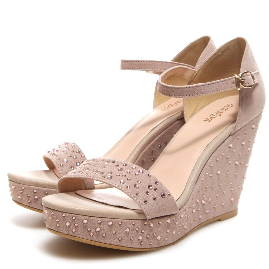 ランダ RANDA ラインストーンワンストラップウェッジサンダル(チャコール) ,靴とファッションの通販サイト ロコンド