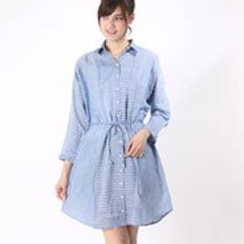 カンカン KANKAN 格子ドビーシャツドレス (ブルー)