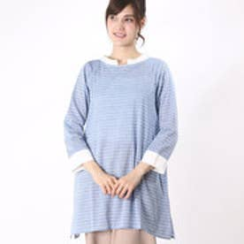 カンカン KANKAN 格子ドビーシャツチュニック (ブルー)