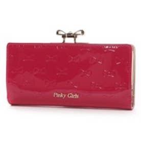 ピンキーガールズ Pinky Girls ピンキーガールズ/エナメル調合皮リボン柄がま口長財布(ピンク)