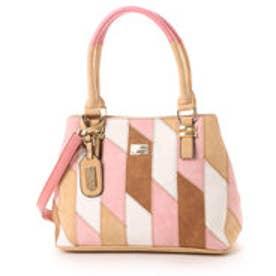 ビバユー VIVAYOU 【VIVAYOU ビバユー】スェード調合皮パッチワーク加工2WAYバッグ (ピンク)