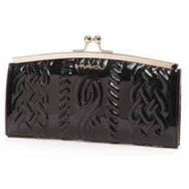 ビバユー VIVAYOU エナメル合皮ニット風型押しがま口財布(ブラック)