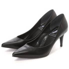 マミアン MAMIAN 本革フォーマル パンプス:足が痛くない(なりにくい)7cmヒールポインテッドトゥパンプス/ブラック黒スムース/【 iCoN 】BASIC 70 P (17653)(ブラック)