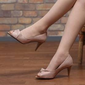 マミアン MAMIAN フロントツイストオープントゥパンプス(7665-14s):履きやすさと美脚に魅せるアイテム:煌めくラメがフェミニンな印象のオープントゥパンプス(シャンパン)