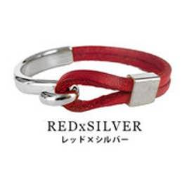モードローブ MODE ROBE ヴィンテージ風 ループ リアルレザー ブレスレット (レッド×シルバー)