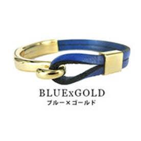 モードローブ MODE ROBE ヴィンテージ風 ループ リアルレザー ブレスレット (ブルー×ゴールド)