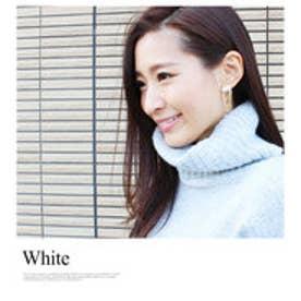 モードローブ MODE ROBE カラービジューストーンチェーンピアス (ホワイト)【両耳】