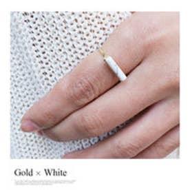 モードローブ MODE ROBE 天然石スクエアリング 指輪 (ゴールド×ホワイト)