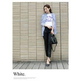 モードローブ MODE ROBE カレッジロゴプリントTシャツ (ホワイト)