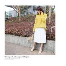 モードローブ MODE ROBE ニット×プリーツスカート レイヤードセット (スカート(WHT)×S(YEL))