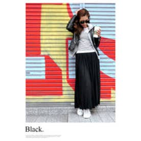 モードローブ MODE ROBE スウェットプリーツフレアマキシスカート (ブラック)
