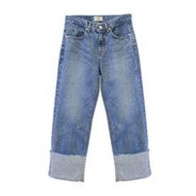 モードローブ MODE ROBE 裾折り返しデニム ワイドパンツ ストレートジーンズ (ブルー)