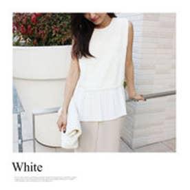 モードローブ MODE ROBE 【VERY8月号掲載】裾プリーツブラウス ノースリーブ Tシャツ (ホワイト)