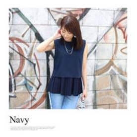 モードローブ MODE ROBE 【VERY8月号掲載】裾プリーツブラウス ノースリーブ Tシャツ (ネイビー)