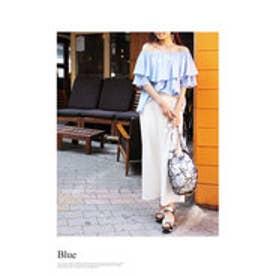 モードローブ MODE ROBE 【VERY8月号掲載】4way 袖フリルオフショルダートップス (ブルー)