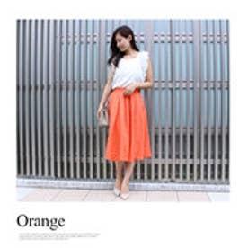 モードローブ MODE ROBE リネンフレアカラースカート (オレンジ)