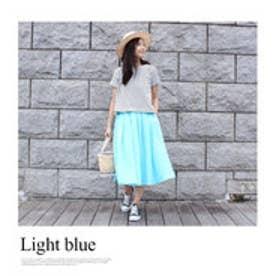モードローブ MODE ROBE リネンフレアカラースカート (ライトブルー)