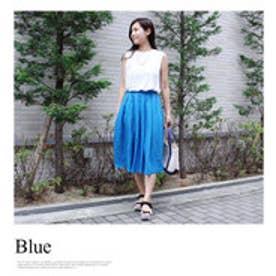 モードローブ MODE ROBE リネンフレアカラースカート (ブルー)