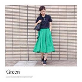 モードローブ MODE ROBE リネンフレアカラースカート (グリーン)