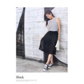 モードローブ MODE ROBE アイレットプリーツスカート/ (ブラック)