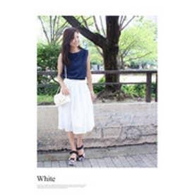 モードローブ MODE ROBE アイレットプリーツスカート/ (ホワイト)
