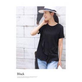 モードローブ MODE ROBE フロントななめフリルTシャツ (ブラック)