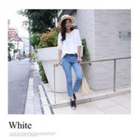 モードローブ MODE ROBE 刺繍レース 五分袖トップス (ホワイト)
