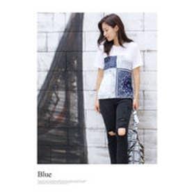 モードローブ MODE ROBE バンダナドッキングTシャツ (ブルー)
