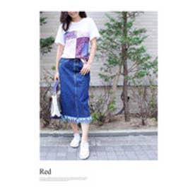 モードローブ MODE ROBE バンダナドッキングTシャツ (レッド)