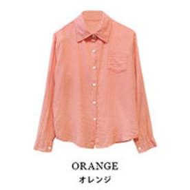 モードローブ MODE ROBE コットンカラーシャツ (オレンジ)