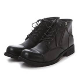 ボアダム BOREDOM 本革レースアップサイドジップブーツ (ブラック)