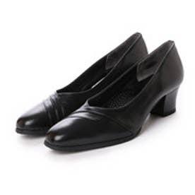 サントノーレ Saint Honore 足に優しい履き心地、3Eラム革楽ちんデザインパンプス (ブラック)