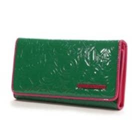アガタ・ルイズ・デ・ラ・プラダ AGATHA RUIZ DE LA PRADA エンボスエナメル合皮大容量長財布(グリーン)