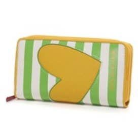 アガタ ルイス デ ラ プラダ AGATHA RUIZ DE LA PRADA ストライプハートアップリケ大容量ダブルラウンドファスナー財布(イエロー)