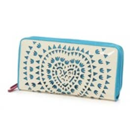 アガタ ルイス デ ラ プラダ AGATHA RUIZ DE LA PRADA エナメル合皮カットワーク大容量ダブルラウンドファスナー財布(ホワイト)
