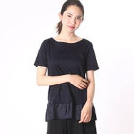 ニューヨーカー NEWYORKER リヨセルコットンスムース 裾シフォン切替半袖カットソー (ネイビー)