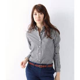 ニューヨーカー NEWYORKER ギザコットン ギンガムチェック ボタンダウンシャツ (ブラック)